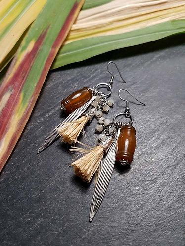 """Longues boucles originales perles cornaline façon """"canne à suc'"""" – 2848"""