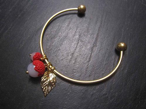"""Bracelet jonc rouge et or """"Deux ti letchis su mon poignet"""" - 2831"""