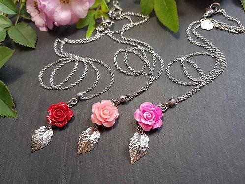 Collier mini rose &  feuille, couleur AU CHOIX - 3135