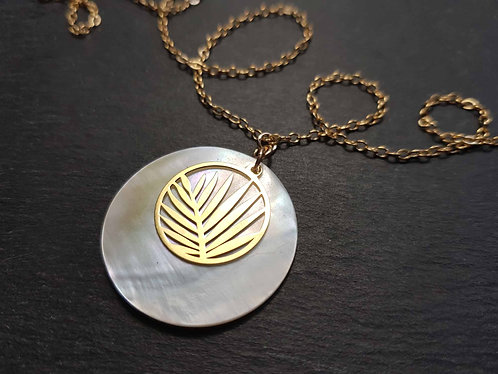 Collier or gold filled palmier & nacre blanche - 3174