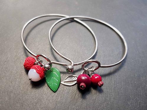 """Bracelet jonc anneau """"2 ti letchis ou goyaviers su mon poignet"""" - 3091"""