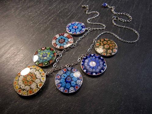 Collier original ajustable médaillons milles fleurs -2631A