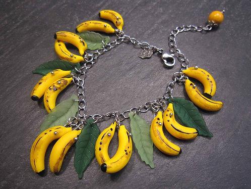 """Bracelet acier """"Bananas"""", original et amusant mini bananes & feuilles"""