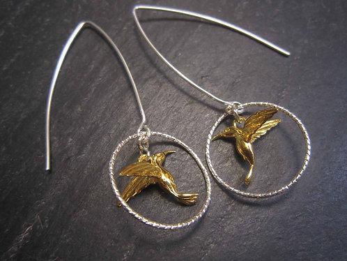Longues boucles 100% argent925, colibri & anneaux d'argent - 2702
