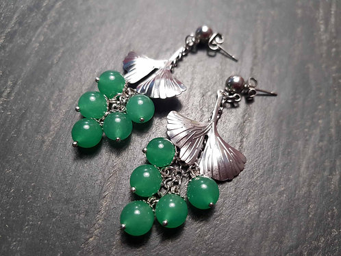 Longues boucles perles vert jade & feuilles de ginkgo - 3037