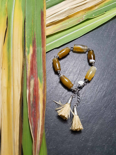 """Bracelet original perles cornaline façon """"canne à suc'"""" – 2849"""