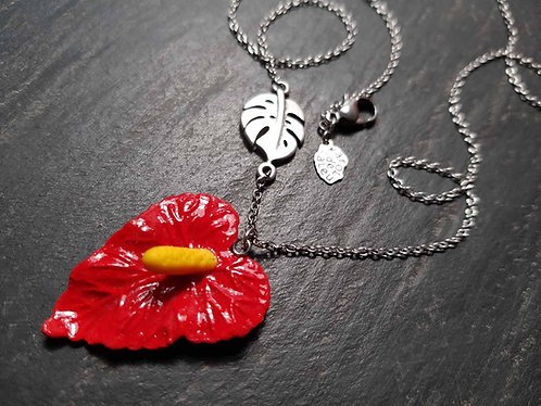 Collier exotique fleur d'anthurium & feuille de monstera / rouge - 2744
