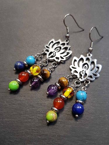 Boucles lotus & les 7 perles du chakra - 3136