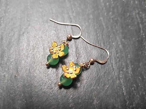 Boucles originales perles aventurine et lotus d'or – 2854