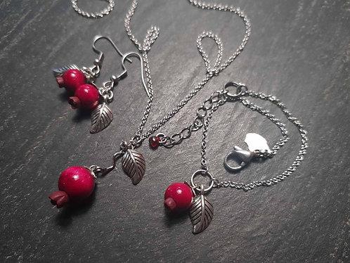 Parure complète goyavier minimaliste bracelet, collier, boucles -2908