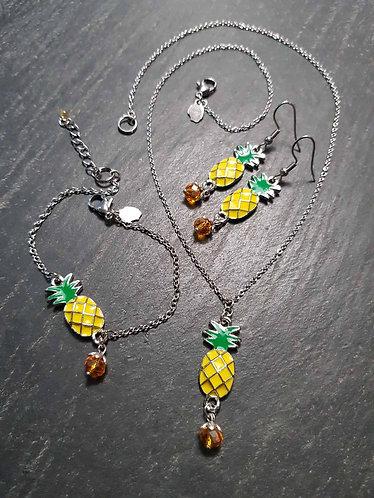 Parure collier + bracelet + boucles, ananas - 2900