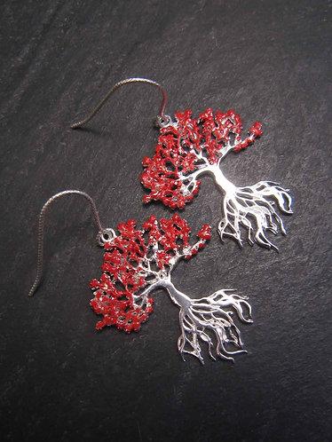 Boucles argent925 fines & délicates flamboyant arbre exotique