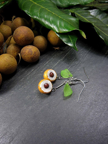 Boucles Longanis fruits exotiques & feuilles