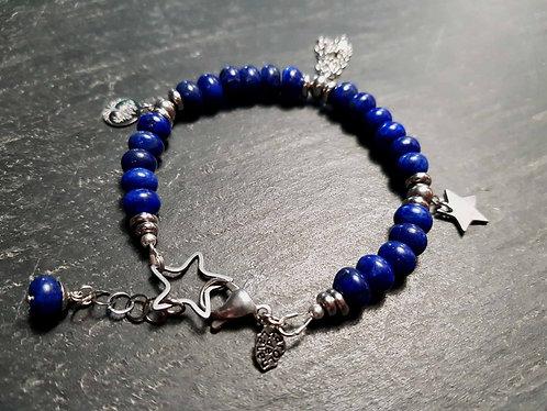"""Bracelet """"poussières d'étoile"""" pierre lapis lazuli, bleu nuit - 2896"""