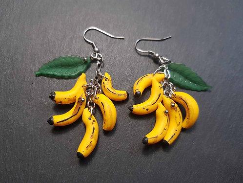 Boucles d'oreille originales & amusantes, mini bananes & feuilles