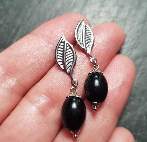 Clous d'oreilles acier inoxydable, perles façon jamblon & feuille -3048
