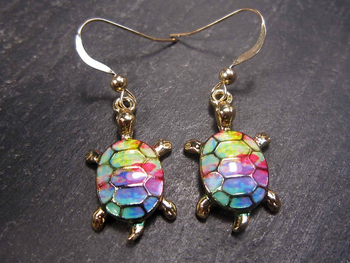 """Jolies boucles or gold filled """"rainbow turtle"""", tortue - 2720"""