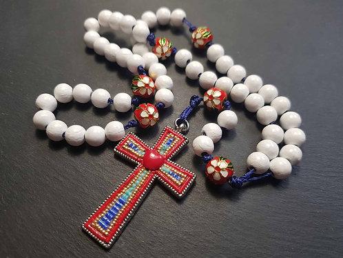 Chapelet perles bois, croix perlées et perles cloisonnées