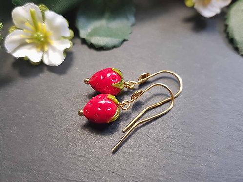 Boucles fraises argent 925 doré - 3128