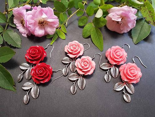 Boucles IMPOSANTES roses & feuillages, couleur AU CHOIX -2606
