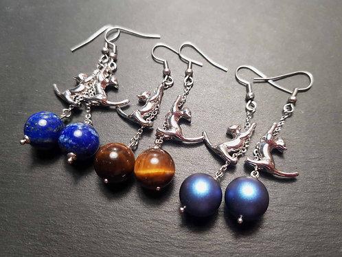 Longues boucles chatons acrobates, argenté & perle au choix - 2971