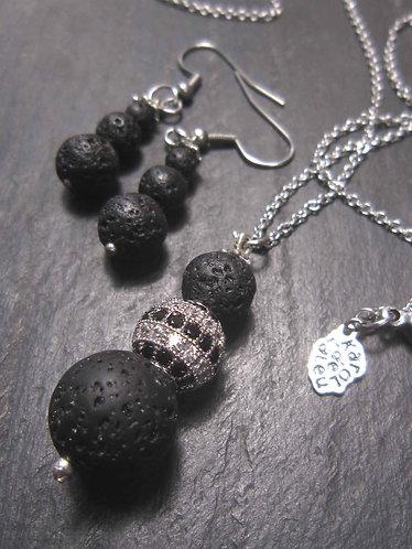 "Parure ""Perles de lave & perle en strass"" – 2703"
