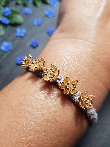 """Bracelet tressé """"Ti fleurs fanées"""", GRIS CLAIR - 2942"""