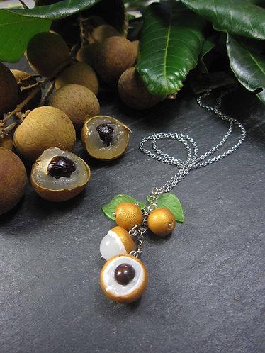Collier acier inoxydable Longanis fruits exotiques & feuilles