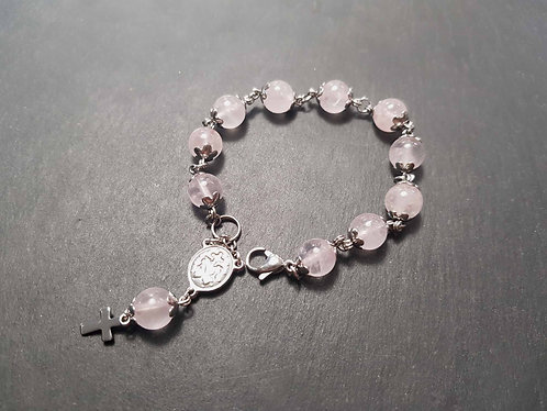 RÉSERVÉ - Bracelet PETITE FILLE quartz rose et acier