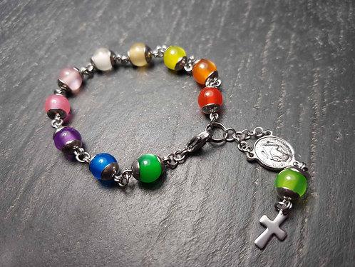 Bracelet dizainier PETITE FILLE arc-en-ciel, acier inoxydable - 2950