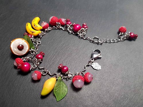 """Bracelet original ajustable fruits exotiques """"Salade de fruits péi, péi, péi..."""""""