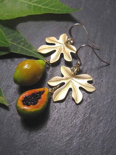 Boucles originales asymétriques papayes – 2818