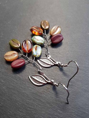 Boucles imposantes grains de café multicolores en épi - 3111