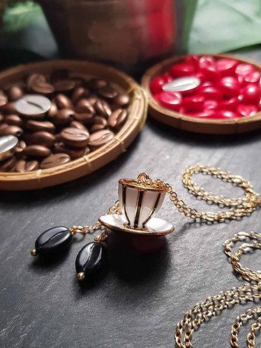 Long collier or gold filled café précieux mini tasse blanche rayée noir -2912