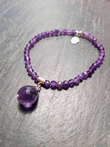 Bracelet élastique original goutte améthyste -2865