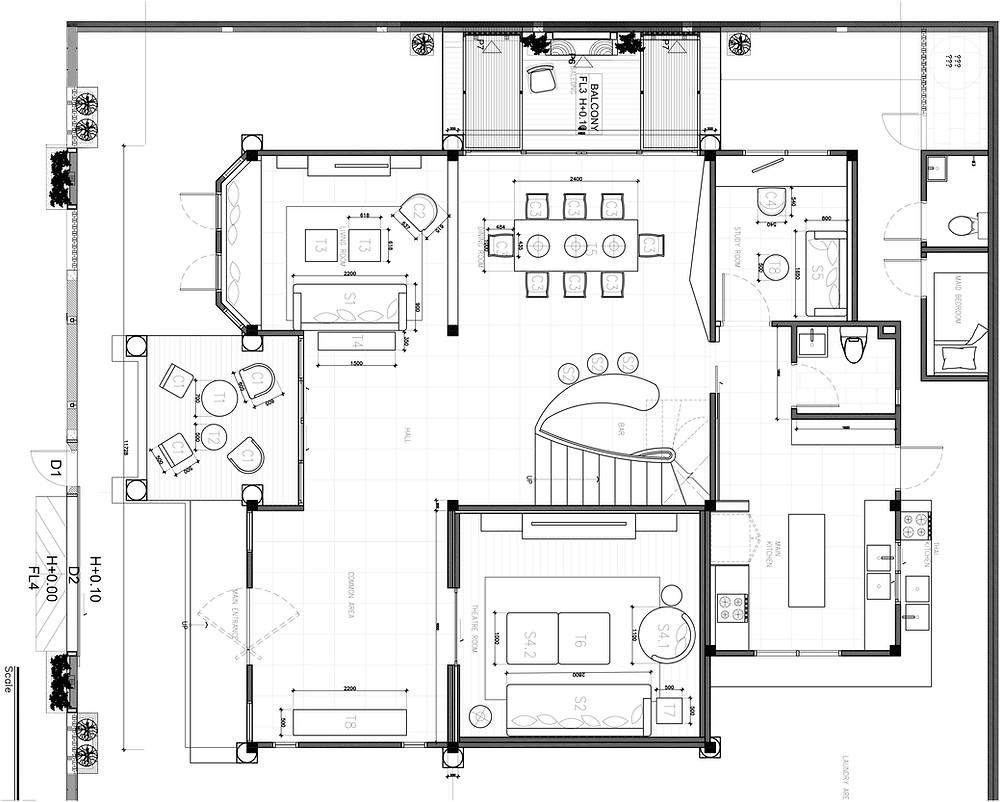 1st Floor Interior Furniture Layout