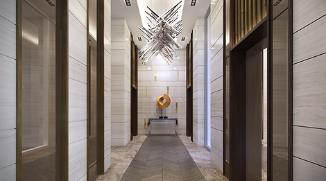 Hotel Lift Lobby Contemporary Luxury by Andy Juy Interior Designs