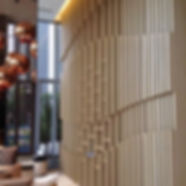 Modern Wood Fins Luxury Hotel Lobby by Andy Juy Interior Designs
