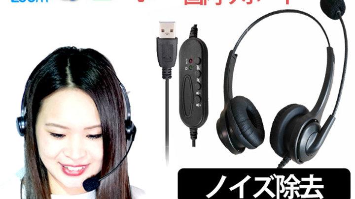 【簡単接続USBヘッドセット】日本開発  日本サポート マイク付き PC用 最軽量 USBステレオヘッドセット  PG-370NC USB