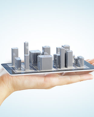 3D city buildings on smartphone and man