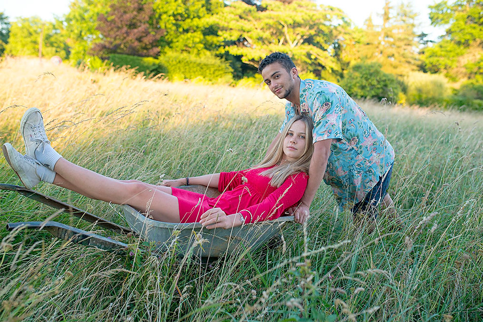 portrait of a couple in a meadow