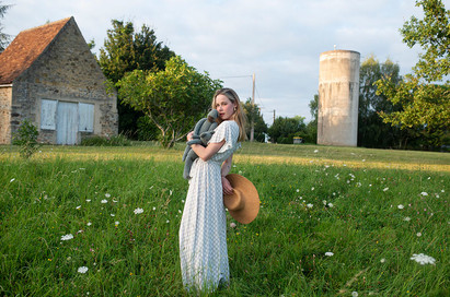 young woman with vintage props