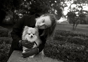 young lady with pomeranian