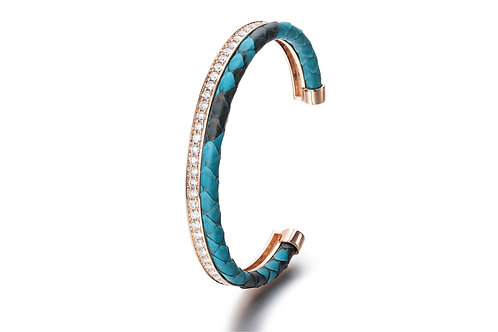 TURQUOISE PYTHON BANGLE ROSE GOLD