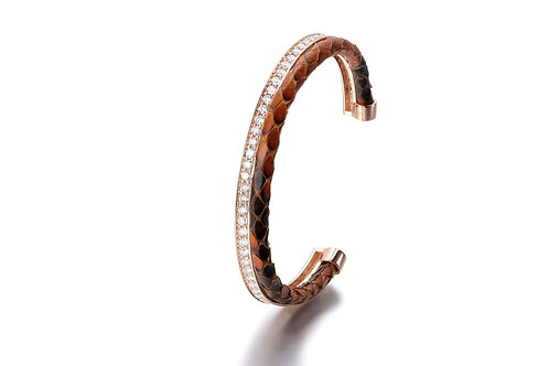 BROWN PYTHON BANGLE ROSE GOLD