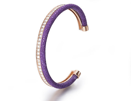 PURPLE STINGRAY BANGLE ROSE GOLD