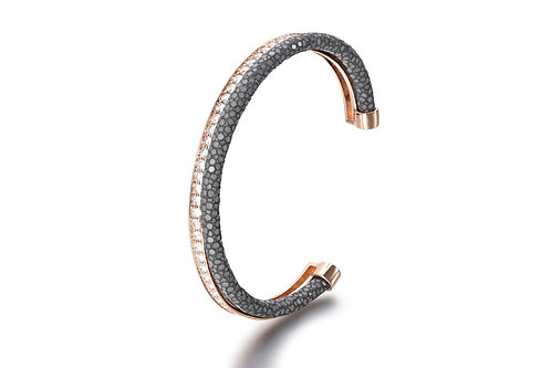 GREY STINGRAY BANGLE ROSE GOLD