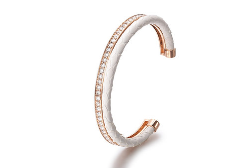 WHITE PYTHON BANGLE ROSE GOLD