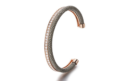 SMOKEY GREY STINGRAY BANGLE ROSE GOLD