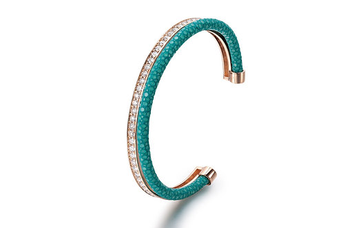 TURQUOISE STINGRAY BANGLE ROSE GOLD